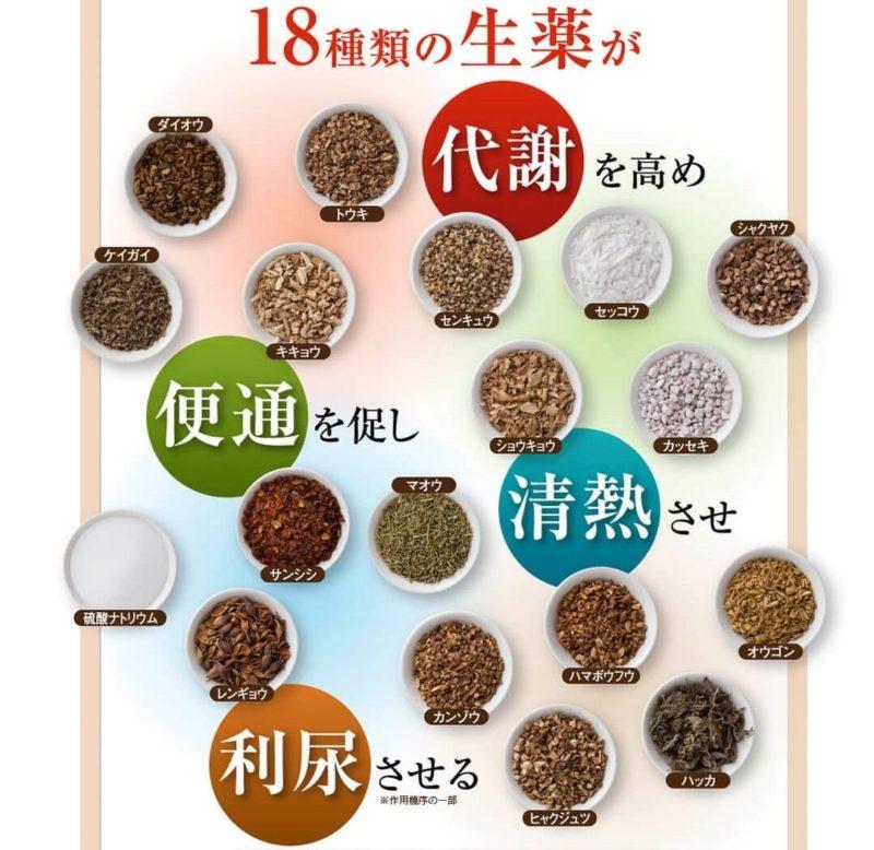 生漢煎防風通聖散の18種類の生薬の紹介